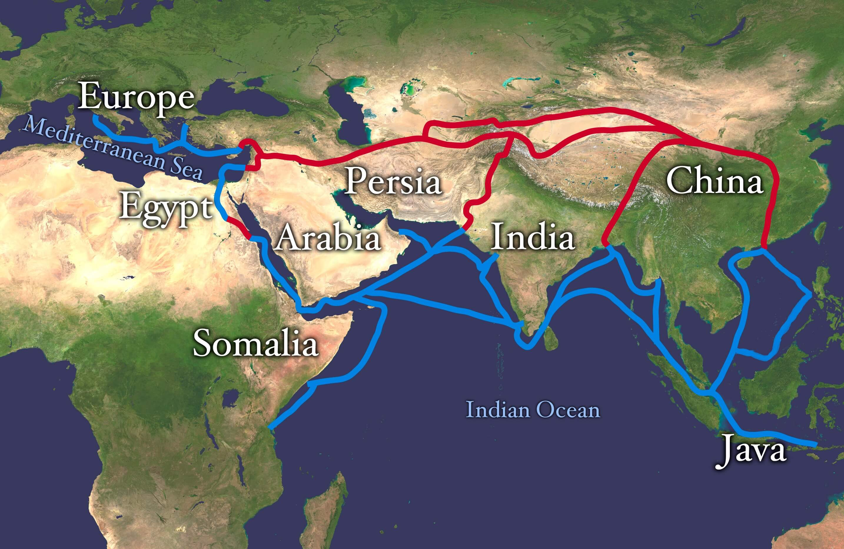 Map of the new silk road, OBOR project