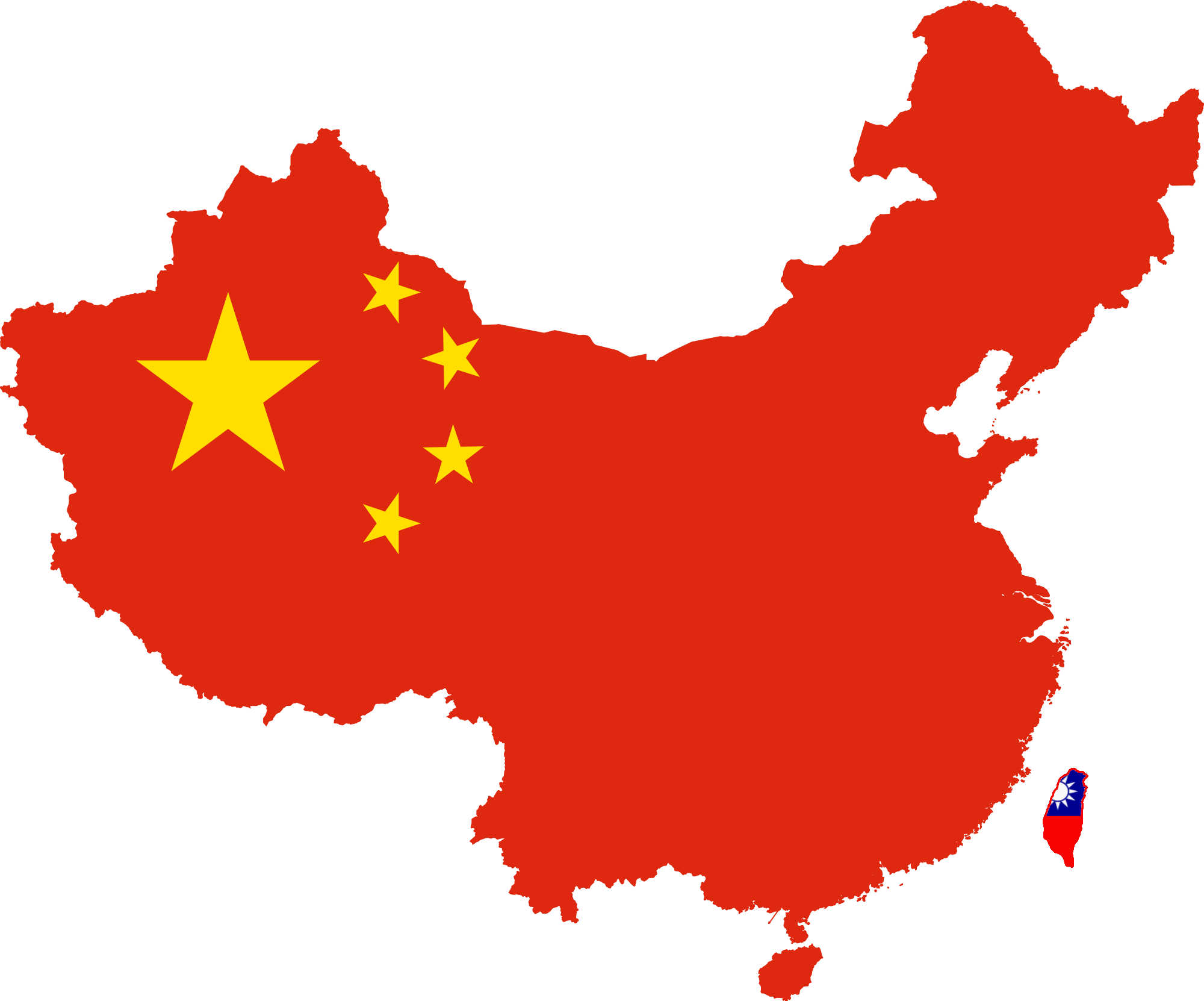 Map of China in colours of Chinese flag